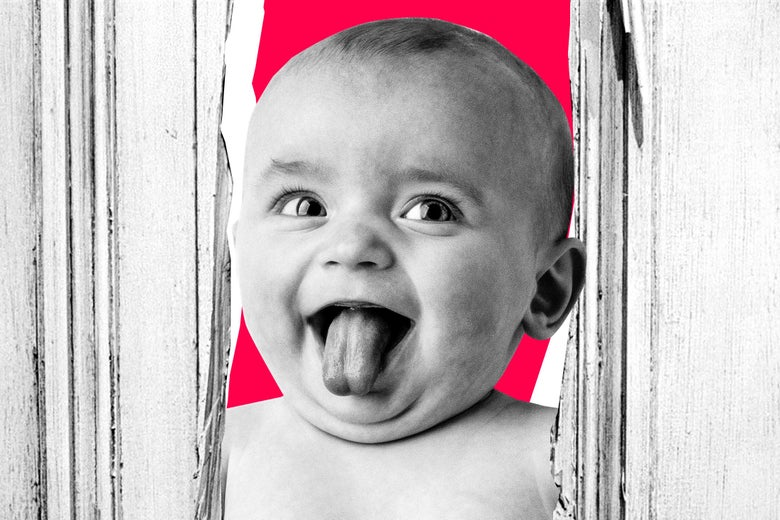 Baby busting its head through a door split open with an axe a la 'The Shining'.
