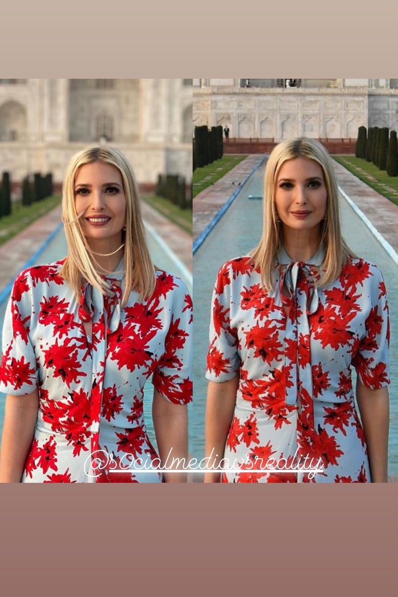 The Instagram photo of Ivanka shows a large gap between her arm and waist. The photo to the right does not.