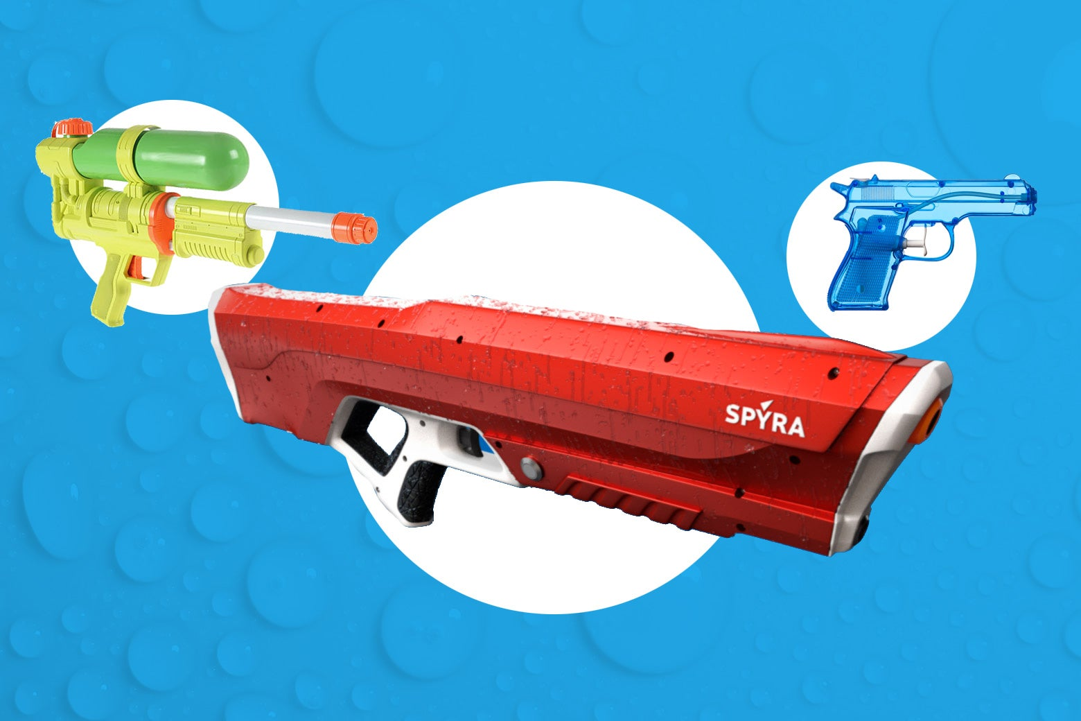 A Super Soaker, a Spyra One, and a water gun that resembles a real 9 mm pistol.
