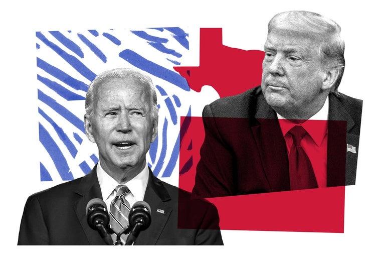 Joe Biden, Donald Trump, and the outline of Texas.