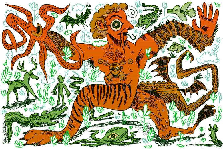 A handsom chimera strutting through a diverse landscape of animals.