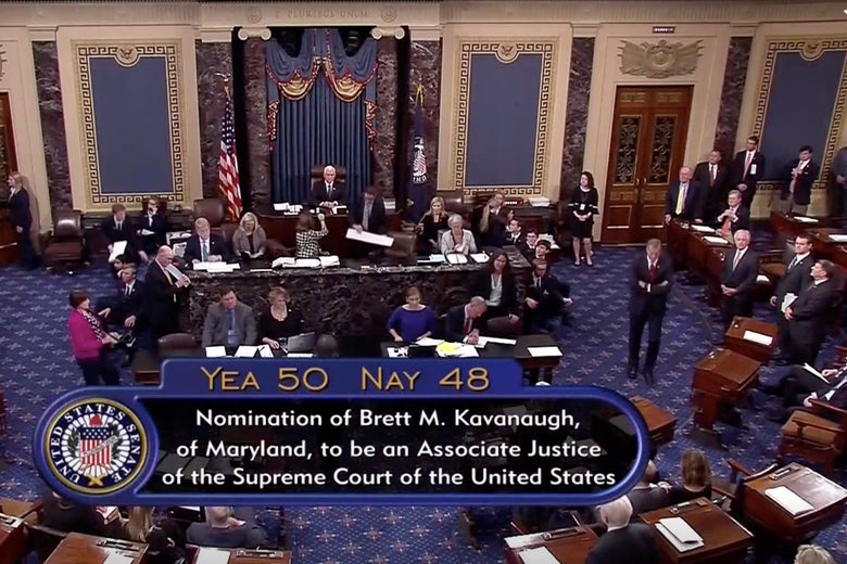A still image taken from video of the final tally of votes by the U.S. Senate on the confirmation of Supreme Court nominee Judge Brett Kavanaugh, on October 6, 2018.