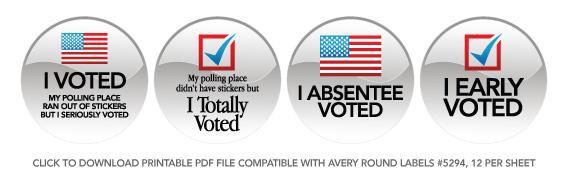 picture relating to I Voted Stickers Printable named No \u201cI Voted\u201d stickers at your polling station? Print your