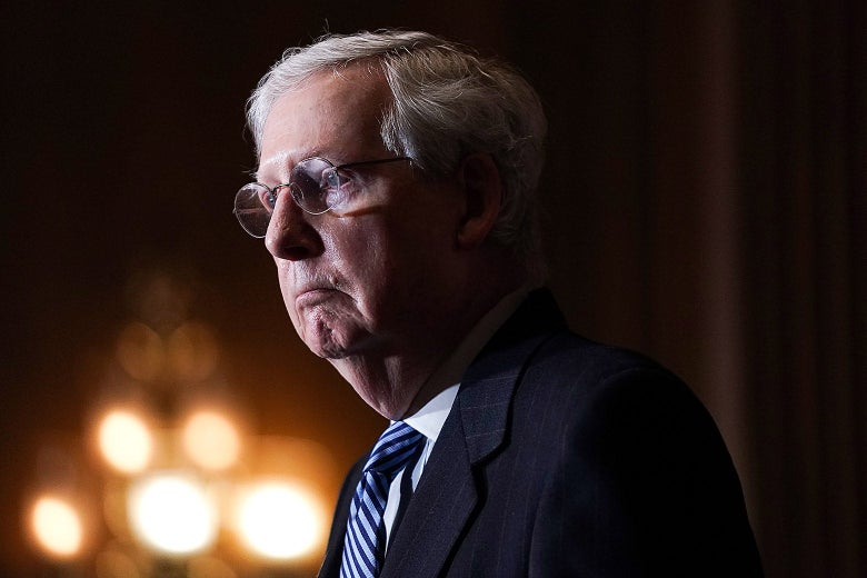 Mitch McConnell in profile.