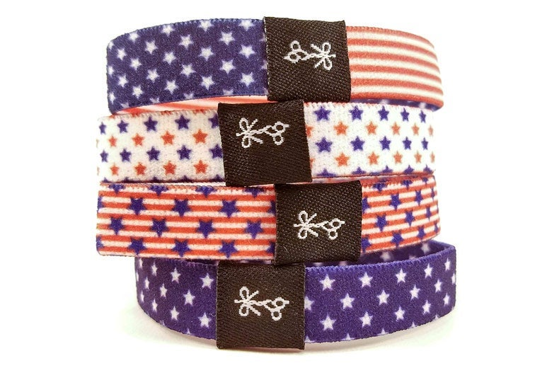 Hair ties with stars and stripes designs.