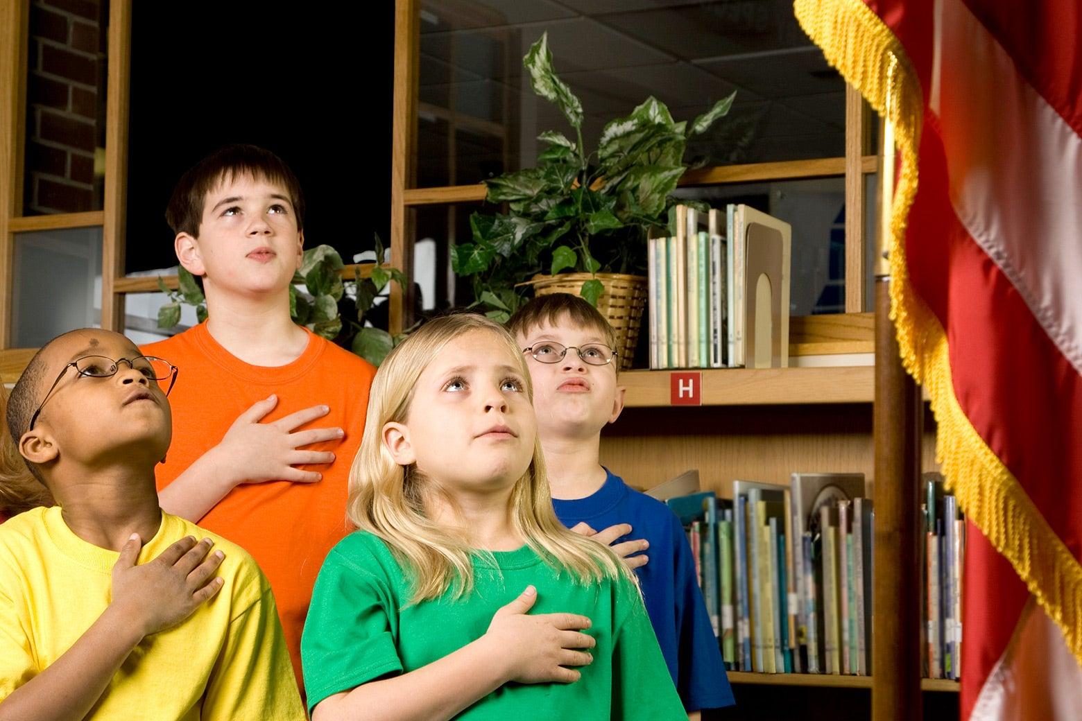 Children pledging allegiance to the United States flag