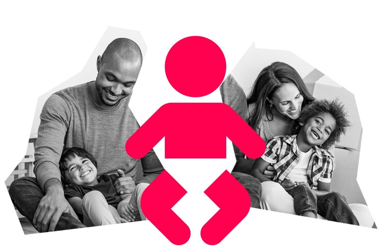 A mom and dad with two children, and a graphic of a baby in the middle.
