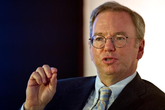 Google Executive Chairman Eric Schmidt gestures as he addresses a gathering at the National Association of Software and Services Companies (NASSCOM).