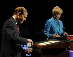 Attorney General Richard Blumenthal debating with former CEO of World Wrestling Entertainment Linda McMahon. Click image to expand.