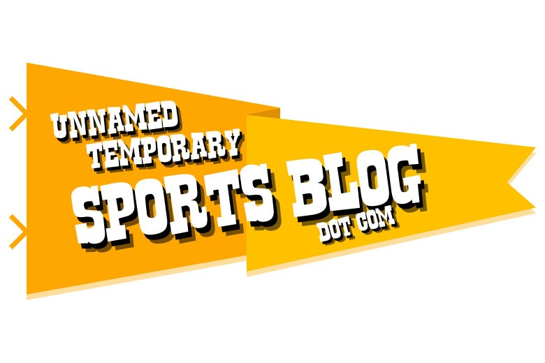 """A logo that consists of a yellow banner reading """"unnamed temporary sports blog dot com"""""""