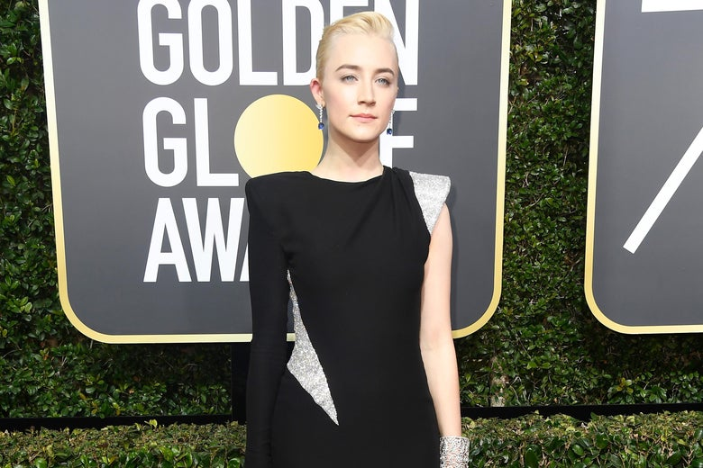 BEVERLY HILLS, CA - JANUARY 07:  Actor Saoirse Ronan attends The 75th Annual Golden Globe Awards at The Beverly Hilton Hotel on January 7, 2018 in Beverly Hills, California.  (Photo by Frazer Harrison/Getty Images)