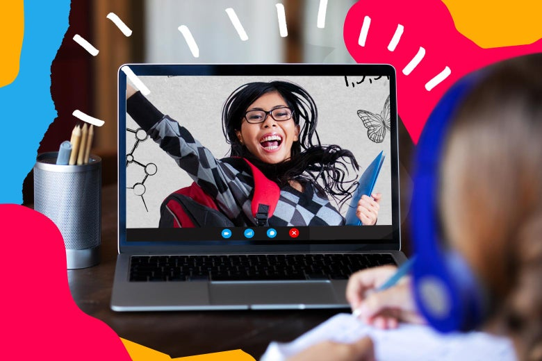 Kindergartner wearing headphones, sitting in front of a laptop with an enthusiastic teacher on the screen