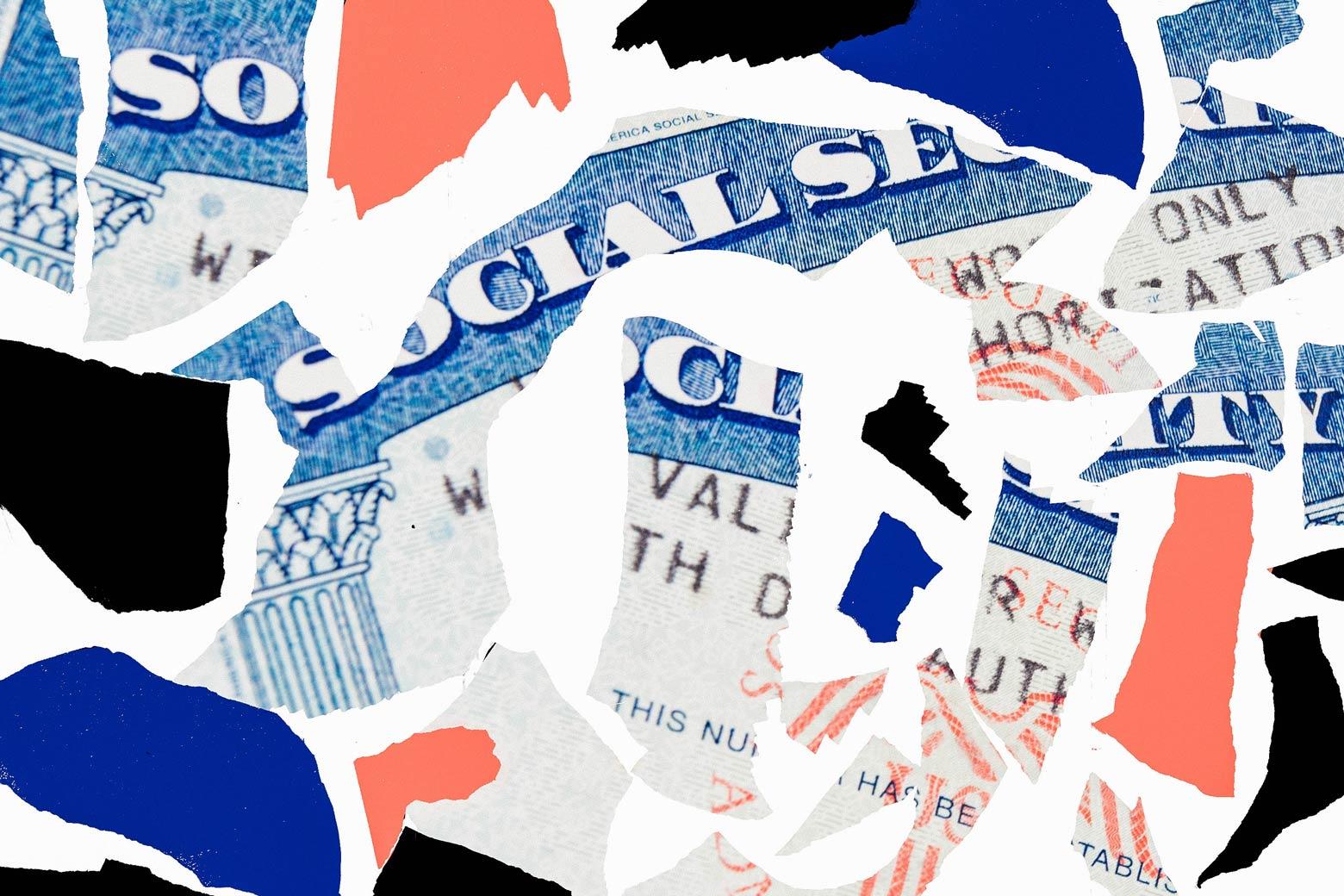 Torn-up Social Security card.