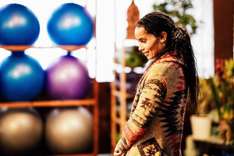 Zoë Kravitz as Bonnie in her yoga studio.