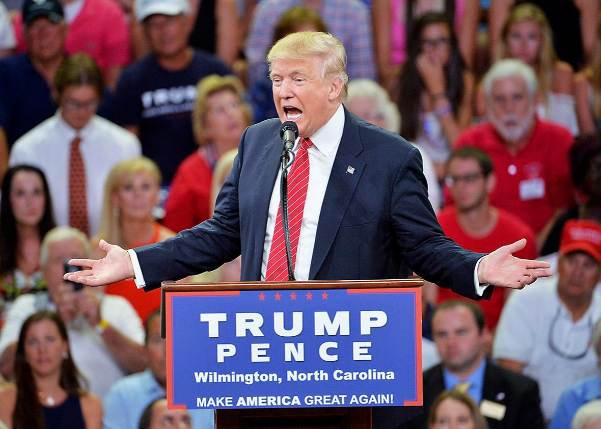 Republican presidential candidate Donald Trump addresses the audience during a campaign event at Trask Coliseum on August 9, 2016 in Wilmington, North Carolina.