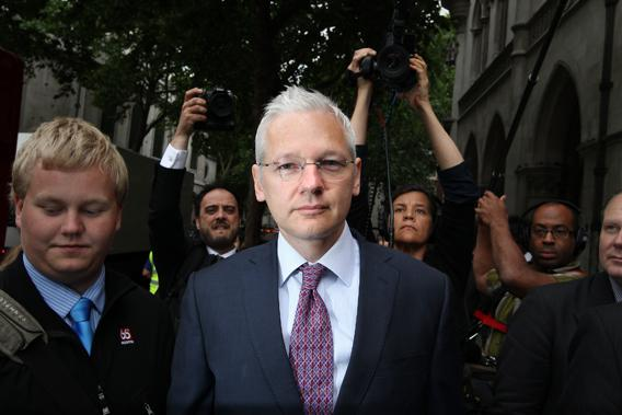 WikiLeaks website founder Julian Assange  arrives at The High Court on July 13, 2011 in London, England.