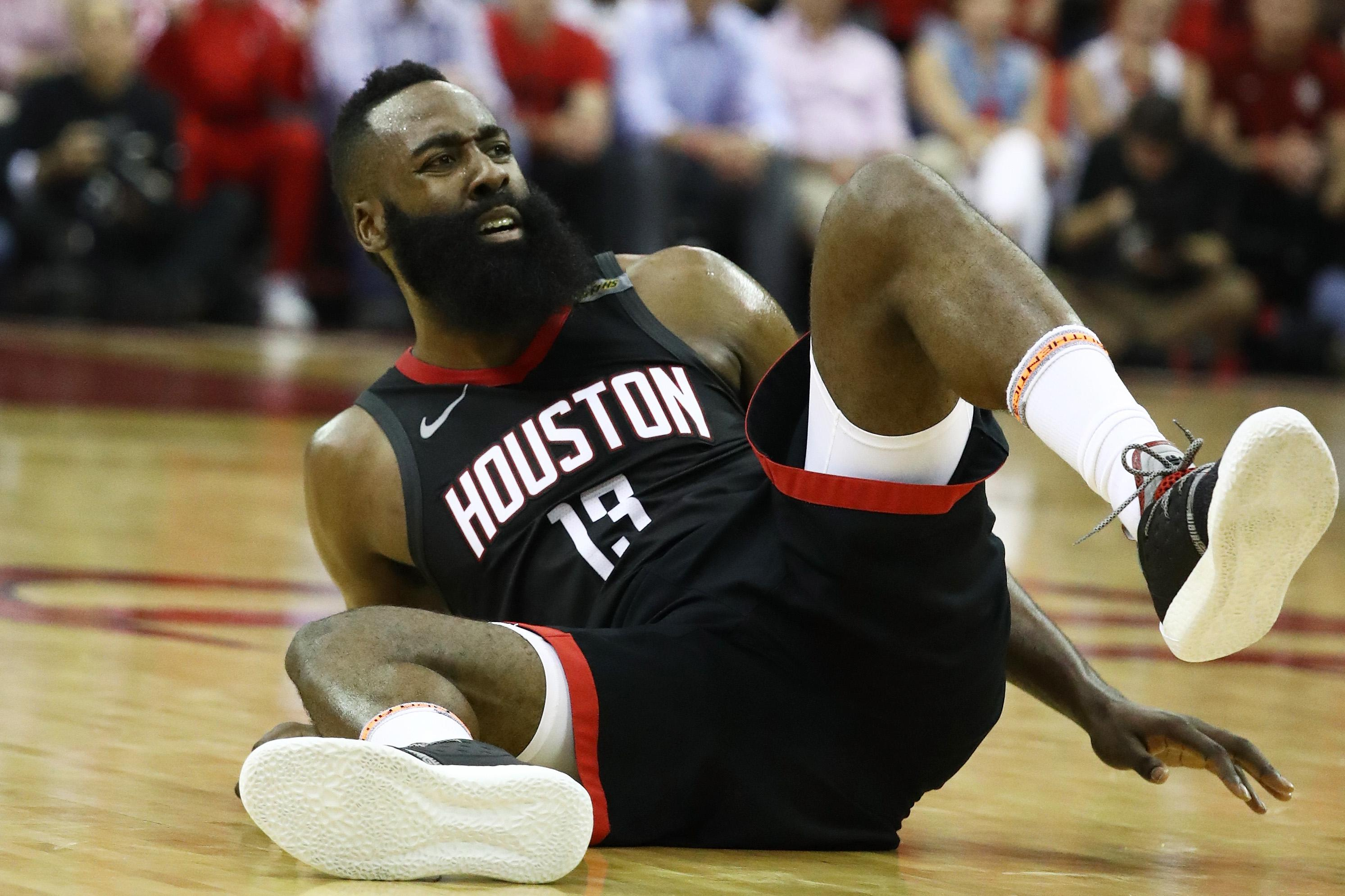 HOUSTON, TX - MAY 28:  James Harden #13 of the Houston Rockets reacts in the second quarter of Game Seven of the Western Conference Finals of the 2018 NBA Playoffs at Toyota Center against the Golden State Warriors on May 28, 2018 in Houston, Texas. NOTE TO USER: User expressly acknowledges and agrees that, by downloading and or using this photograph, User is consenting to the terms and conditions of the Getty Images License Agreement.  (Photo by Ronald Martinez/Getty Images)