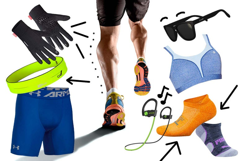 Legs run away, surrounded by various products recommended in this article.