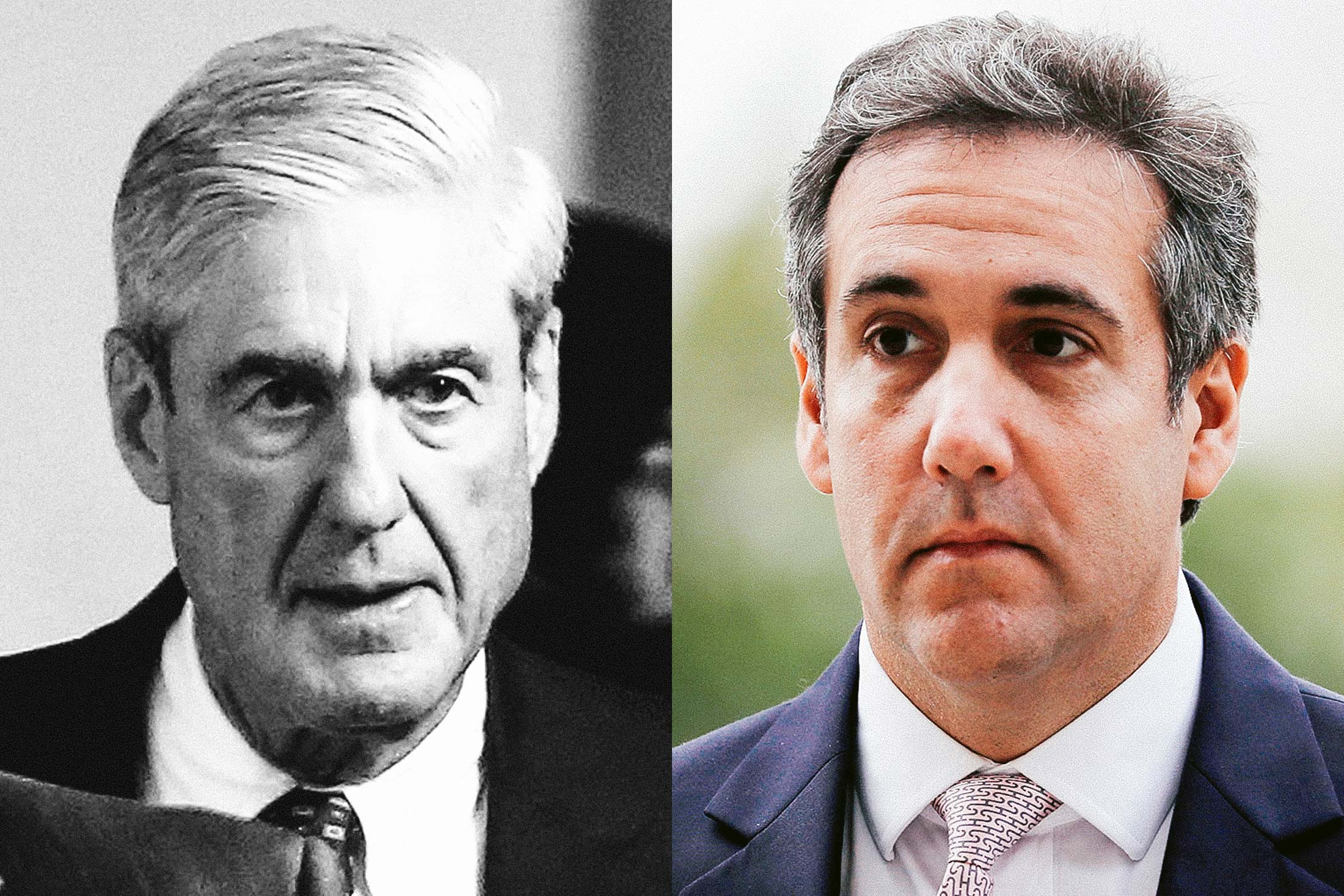 Photo illustration: special counsel Robert Mueller and Trump lawyer Michael Cohen.
