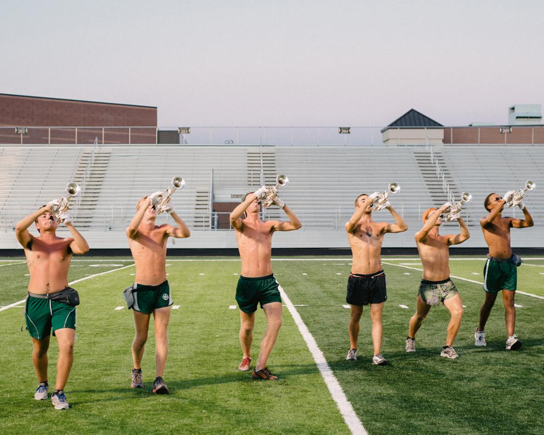 Scouts Trumpet Line. Trumpet players in rehearsal, Madison Scouts Drum & Bugle Corps, Forney High School, Forney, Texas
