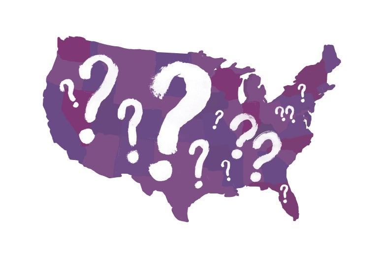 U.S. map colored in purple and covered in question marks.