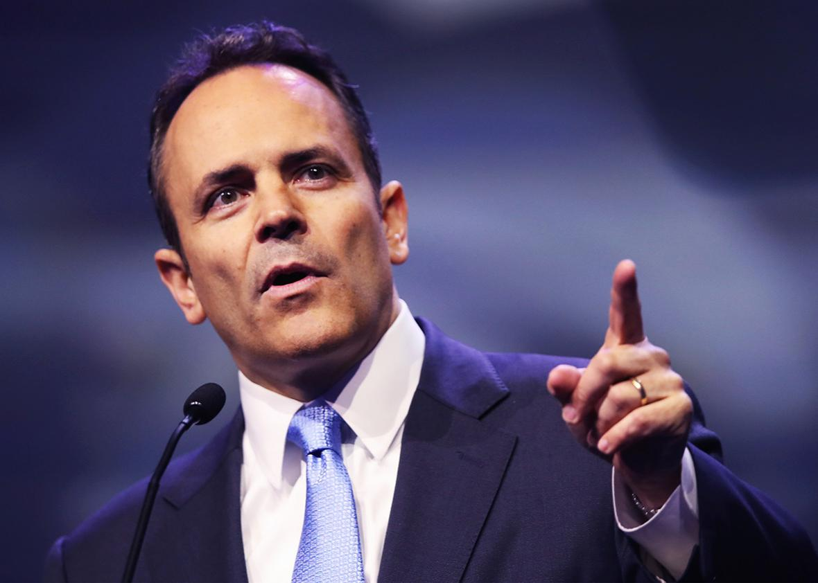 Gov. Matt Bevin speaks at the National Rifle Association's NRA-ILA Leadership Forum during the NRA Convention at the Kentucky Exposition Center on May 20, 2016 in Louisville, Kentucky.