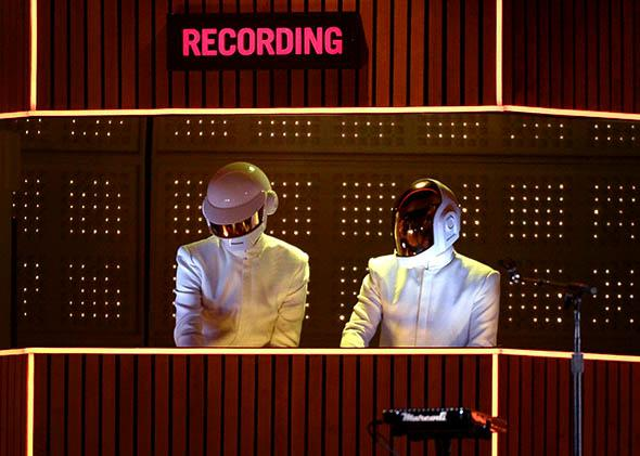 Daft Punk performs during the 56th Grammy Awards on Jan. 26, 2014, in Los Angeles.