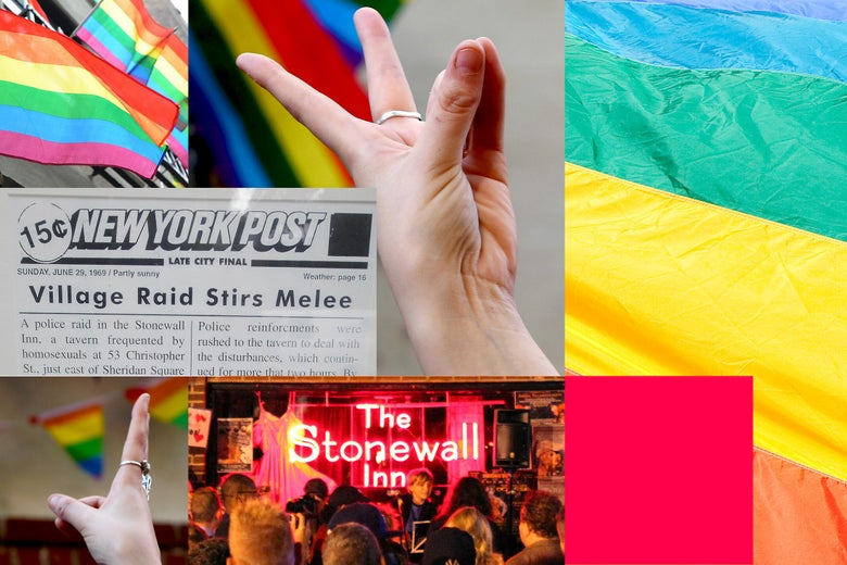 Grid of images through the years at Stonewall Inn, including rainbow flags and a photo of a tear sheet reporting on the 1969 riots.