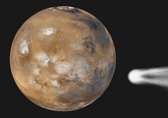 Illustration of a comet near Mars