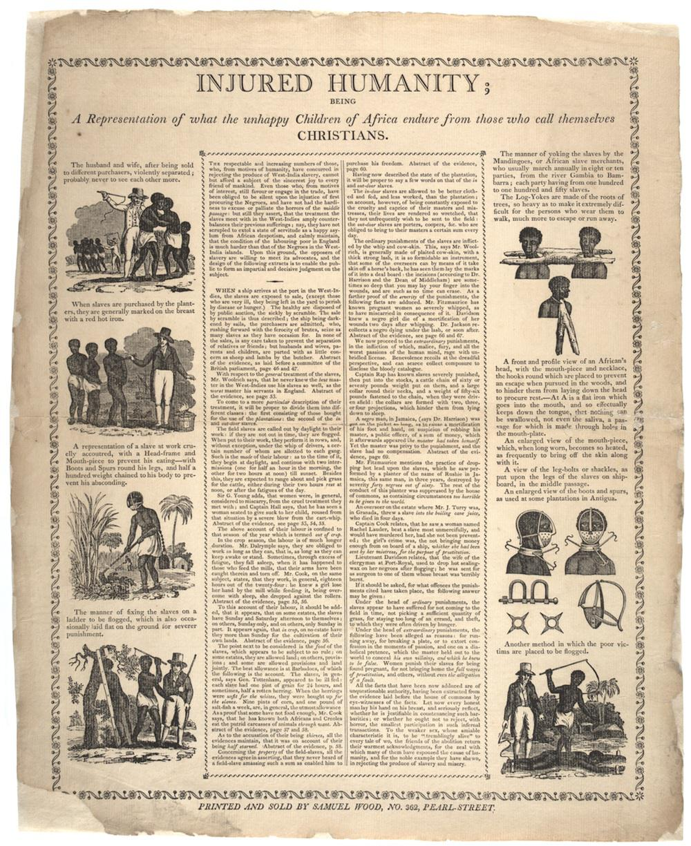History of abolitionism and Quakers: Samuel Wood anti-slavery broadside published in New York.