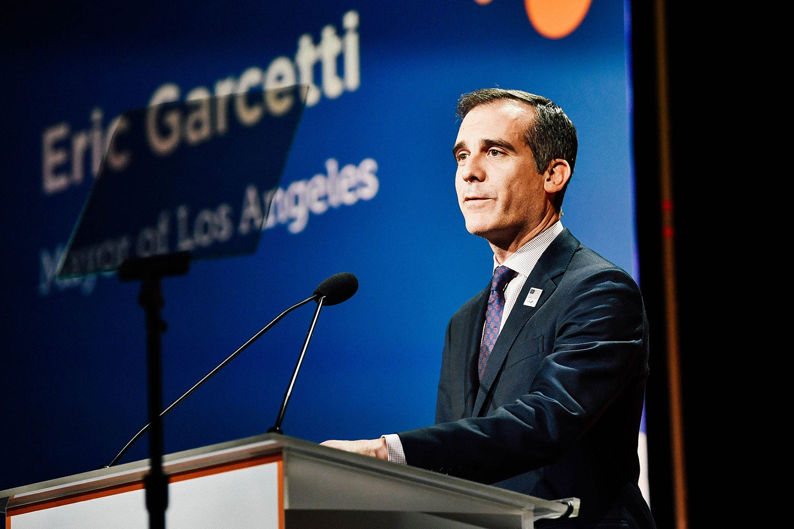 Los Angeles Mayor Eric Garcetti speaks onstage during the Alliance for Children's Rights 26th Annual Dinner on March 28 in Beverly Hills, California.