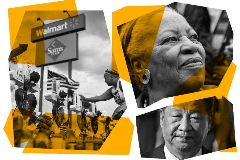 Photo illustration of a memorial in El Paso, Texas, Toni Morrison, and Chinese President Xi Jinping