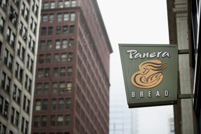 A sign marks the location of a Panera Bread restaurant on May 5, 2015 in Chicago, Illinois.