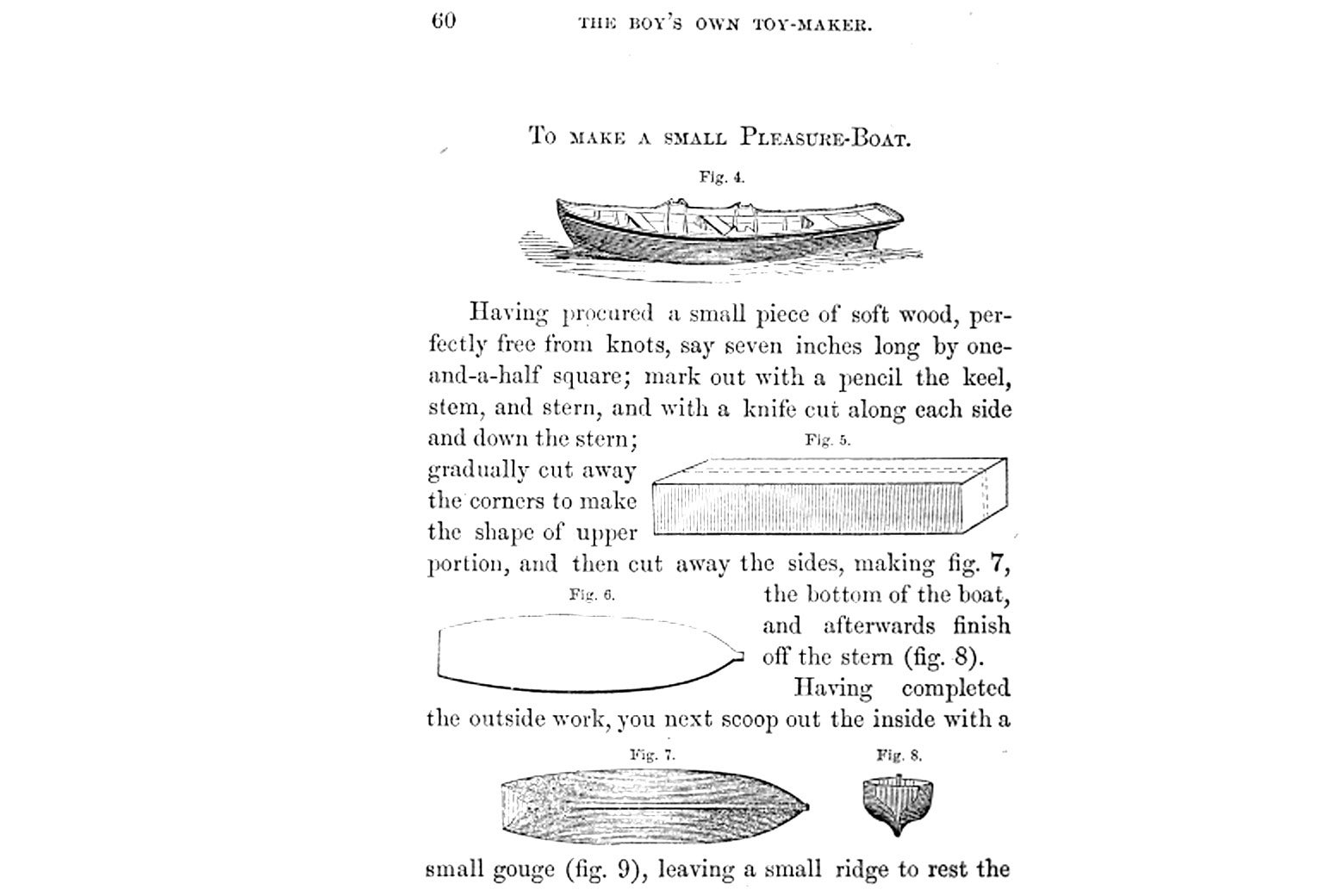 "A page from The Boy's Own Toy-maker, 1860, on how to make a ""small pleasure boat."""