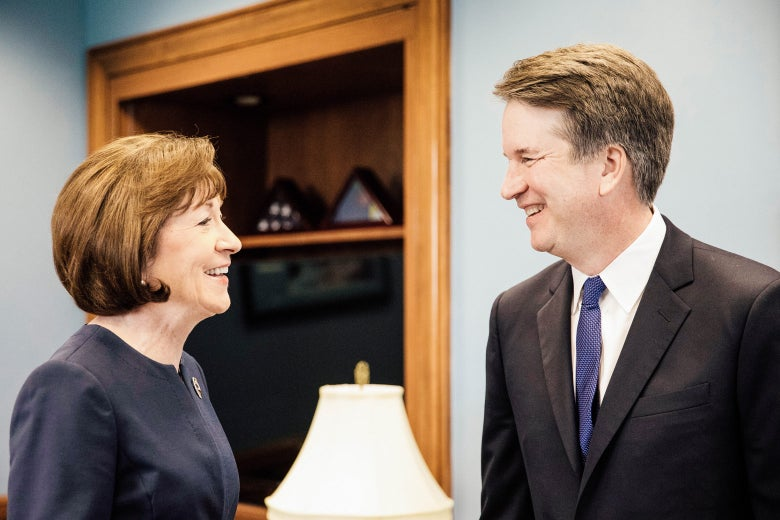 U.S. Sen. Susan Collins meets with Supreme Court nominee Brett Kavanaugh on Capitol Hill on Aug. 21.