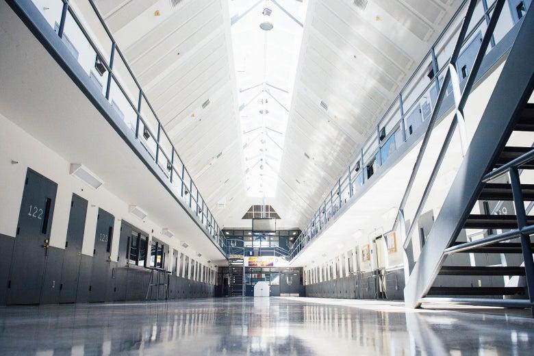A cell block at the El Reno Federal Correctional Institution in El Reno, Oklahoma.