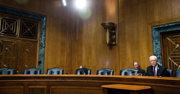 Senate Finance Committee empty chairs