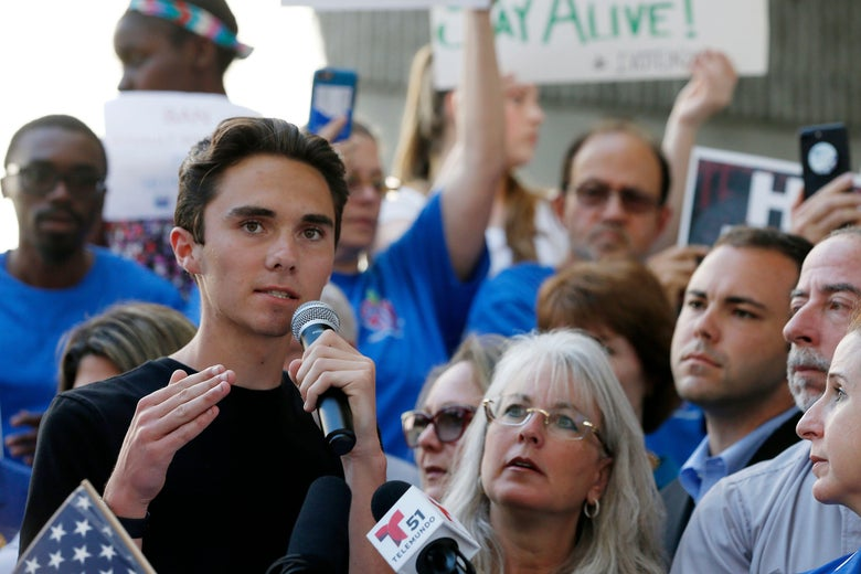 Marjory Stoneman Douglas High School student David Hogg speaking at a rally for gun control at the Broward County Federal Courthouse in Fort Lauderdale, Florida.