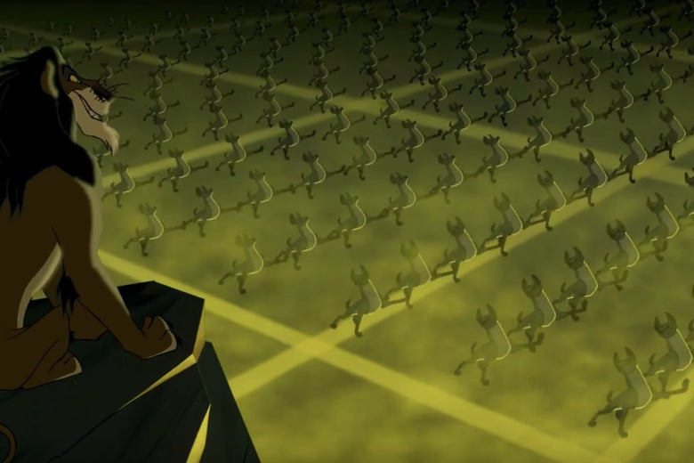 "Scar and the hyenas in ""Be Prepared."""