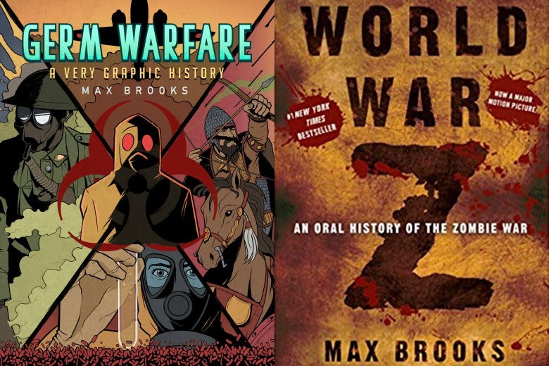 Book covers of Germ Warfare and World War Z.