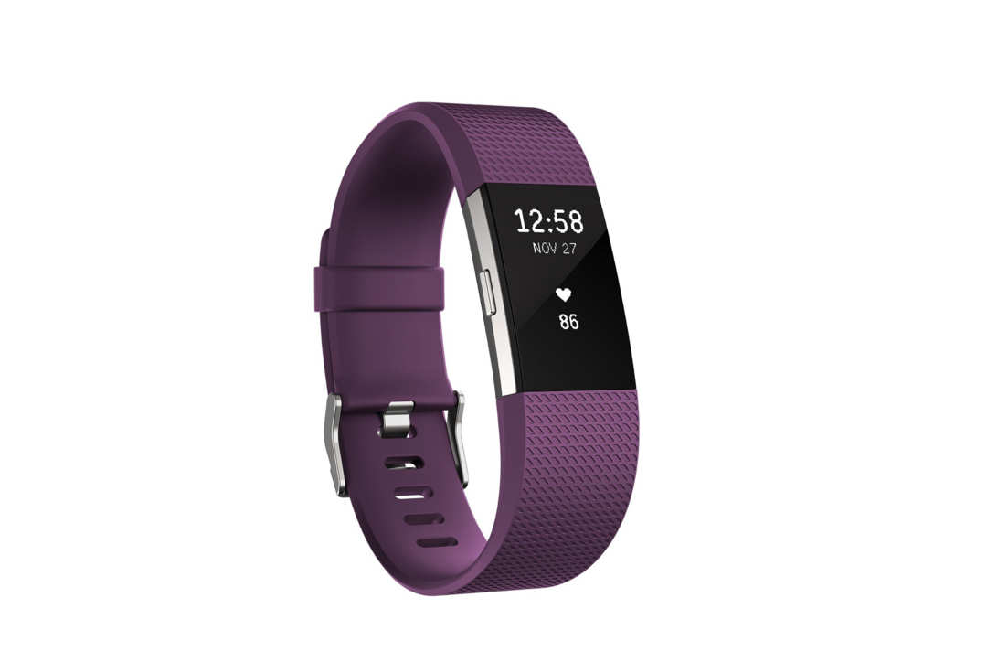 Fitbit Charge 2 fitness tracker with purple band.