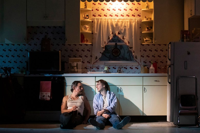 Hawke and Dano as Lee and Austin in True West. They sit on the floor of a kitchen onstage.