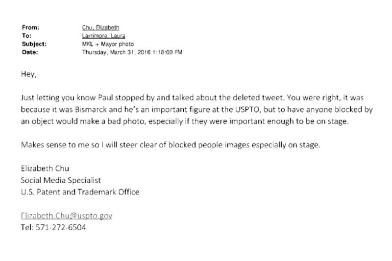 Screenshot of a USPTO email exchange, provided in response to one of the author's FOIA requests with the U.S. Patent and Trade Office.