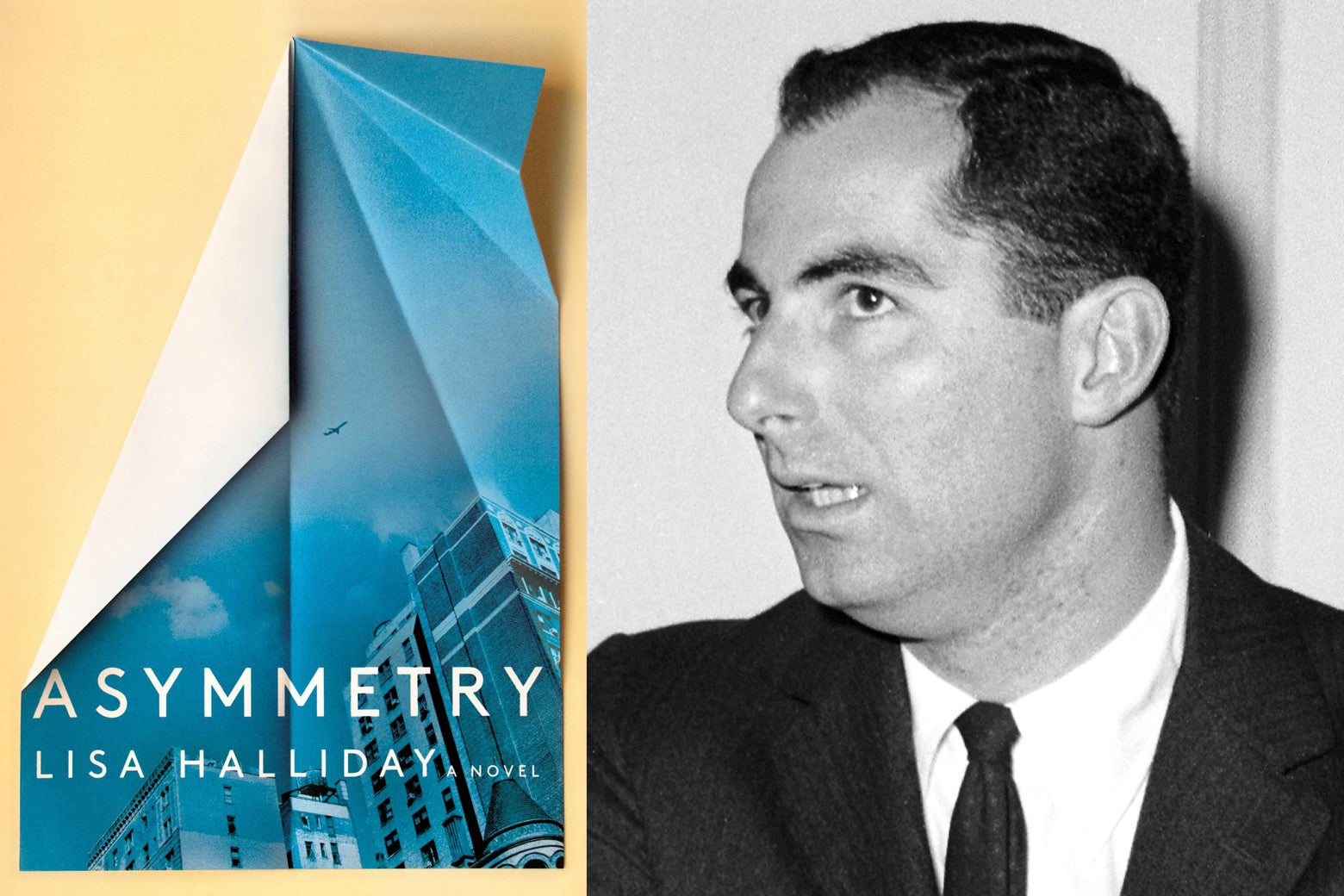 The cover of Lisa Halliday's Asymmetry and a photo of Philip Roth.