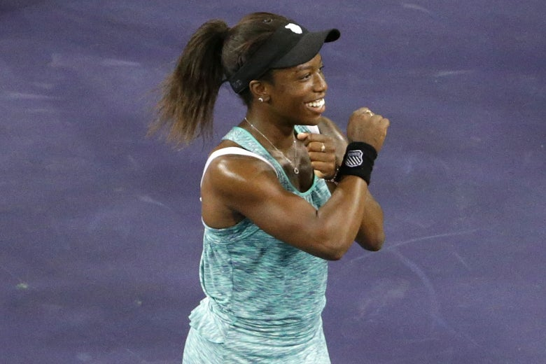 Sachia Victory does the Wakanda Forever salute after defeating Garbiñe Muguruza at the BNP Paribas Open on Friday.