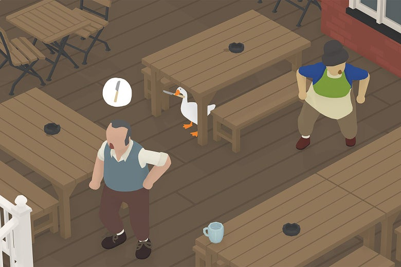 The goose hides under a table in a still from Untitled Goose Game.