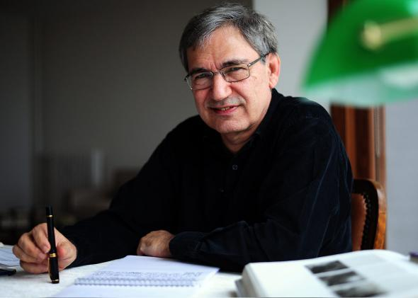 Turkish Nobel laureate author Orhan Pamuk poses during an interview at his house in Istanbul on February 2, 2015.