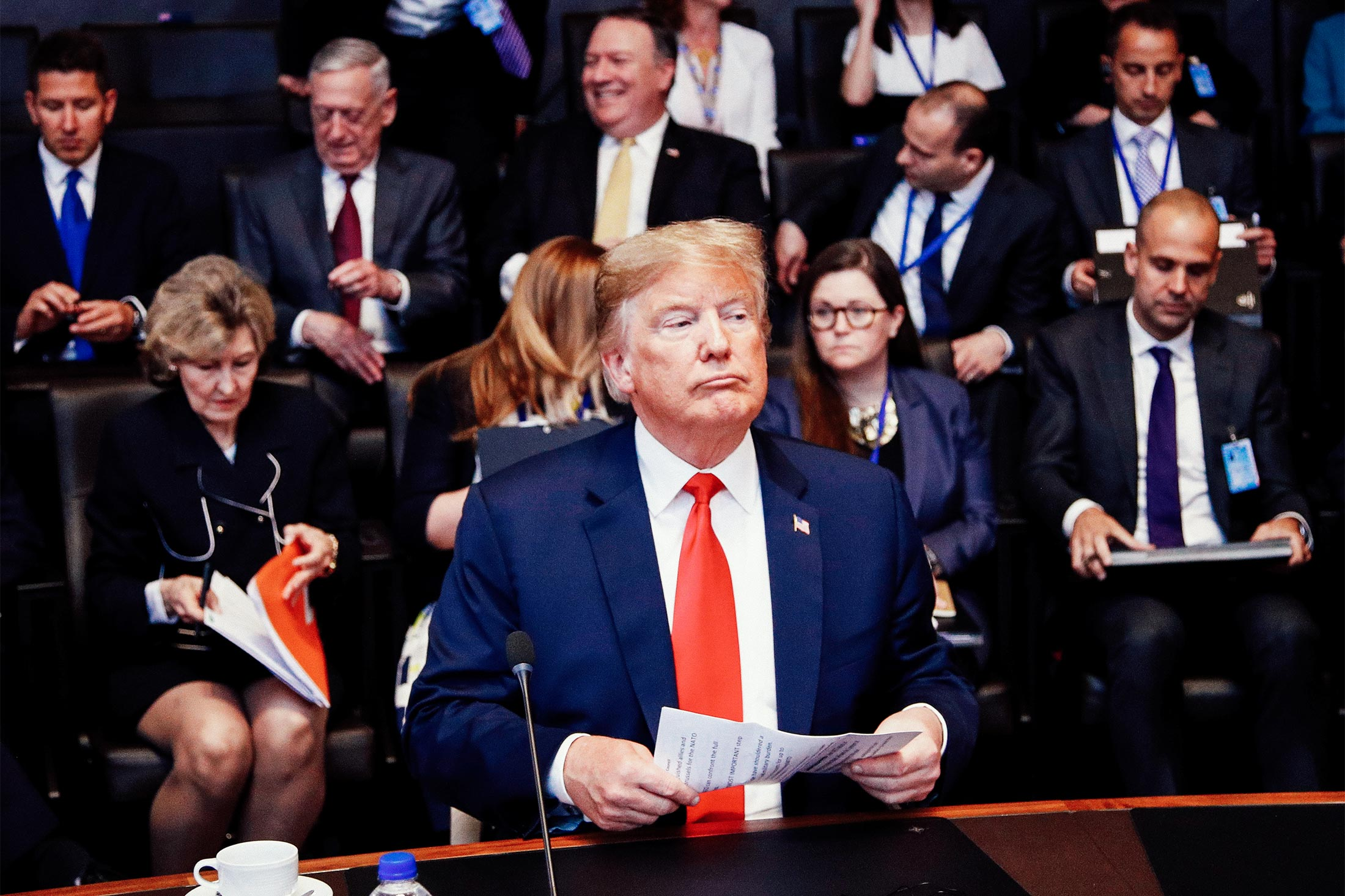 U.S. President Donald Trump attends a meeting of the North Atlantic Council during a NATO summit in Brussels.