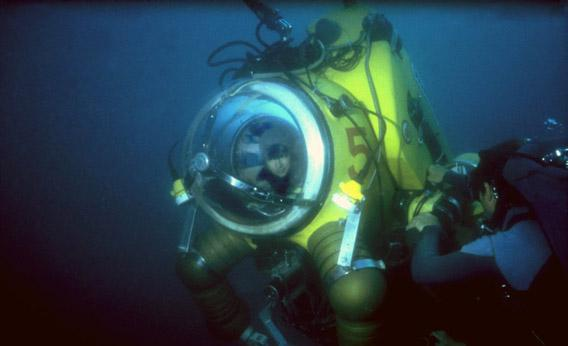 Dr. Edie Widder, president and senior scientist at Ocean Research & Conservation Association (ORCA) inside the deep-diving suit WASP