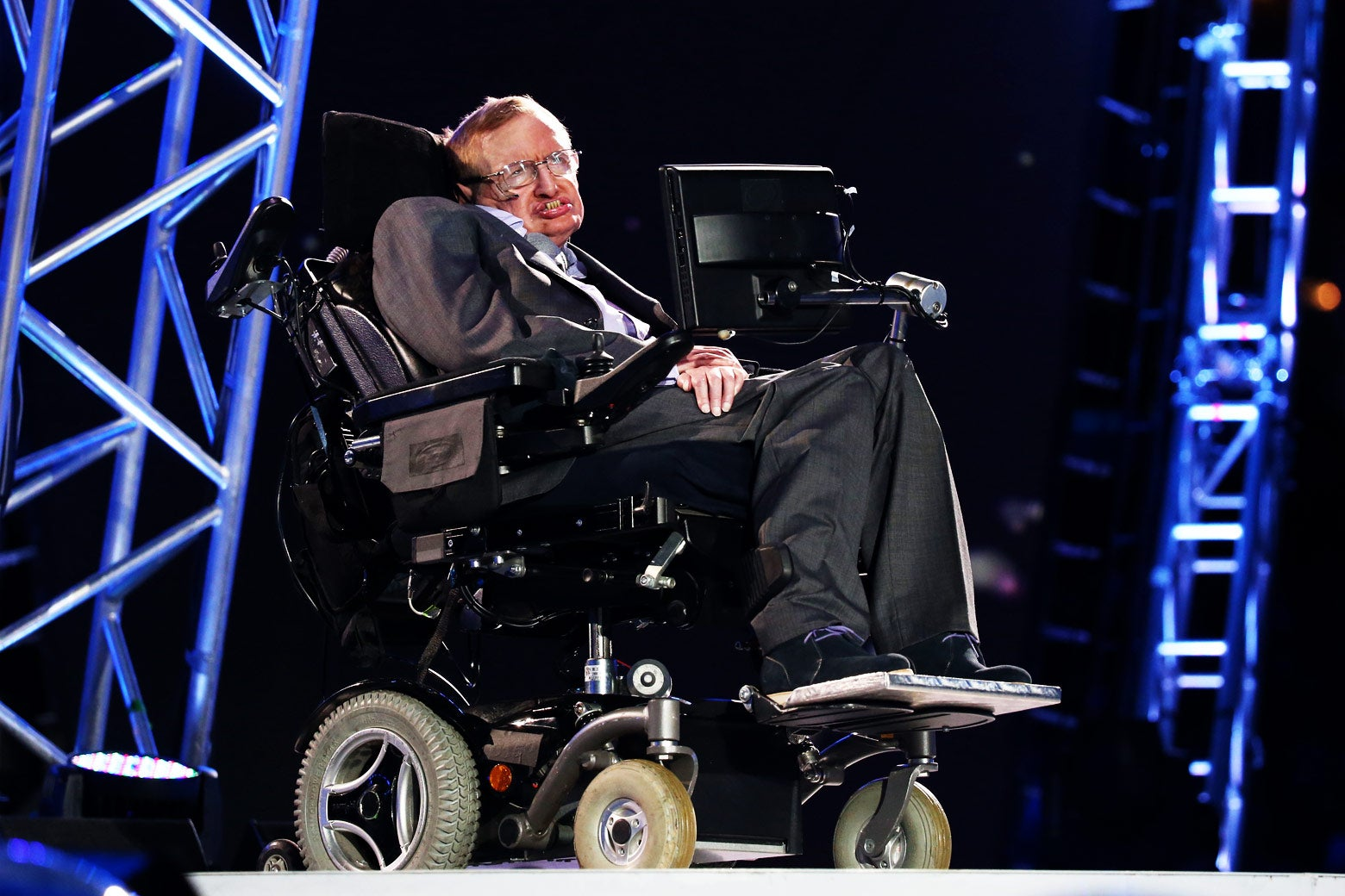 Professor Stephen Hawking speaks during the London 2012 Paralympics at the on Aug. 29, 2012, in London.